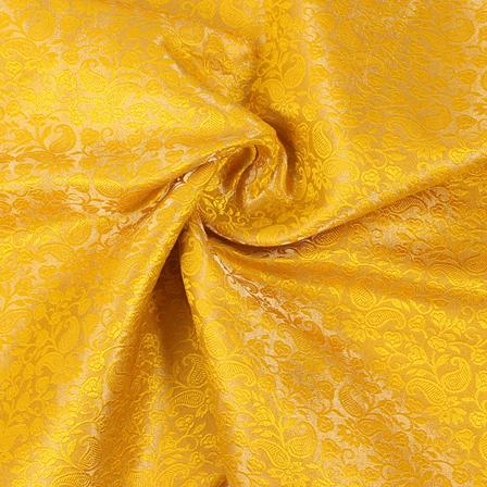 Yellow and Golden Flower Brocade Silk Fabric-8850