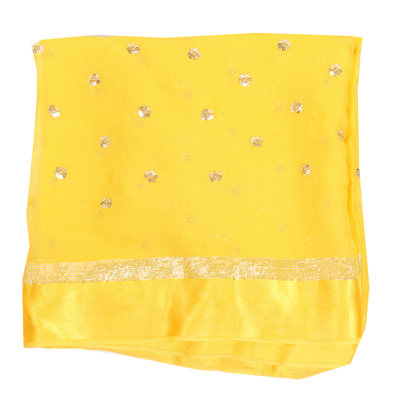 Yellow and Golden Flower Chiffon Embroidery Fabric-29137