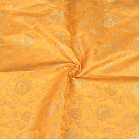 Yellow and Golden Flower Design Two Tone Banarasi Silk Fabric-8402