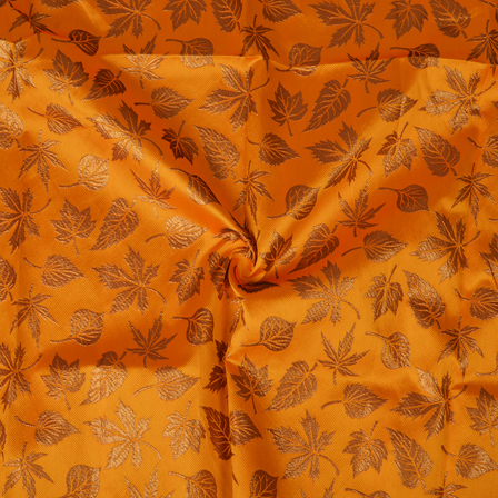 Yellow and Golden Leaf Design Silk Brocade Fabric-8366