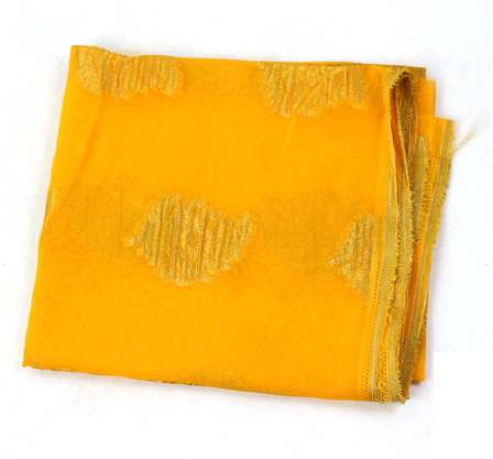 Yellow and Golden Leaf Pattern Chiffon Fabric-29015