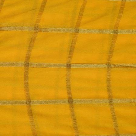 Yellow and Golden Lining Pattern Chiffon Indian Fabric-4361