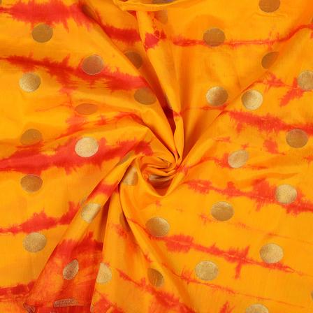 Yellow and Golden Polka Design Shibori Brocade Fabric-8485