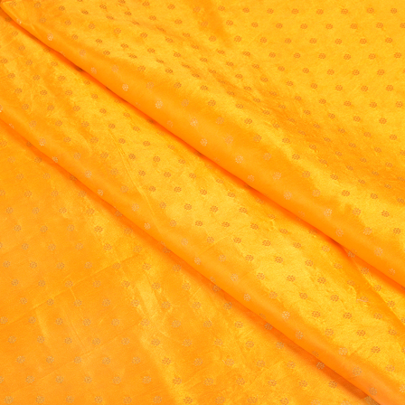 Yellow and Golden Satin Brocade Fabric-8494