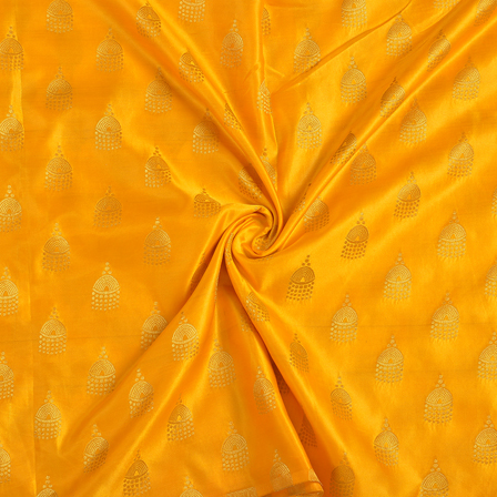 Yellow and Golden Silk Satin Brocade Fabric-8694