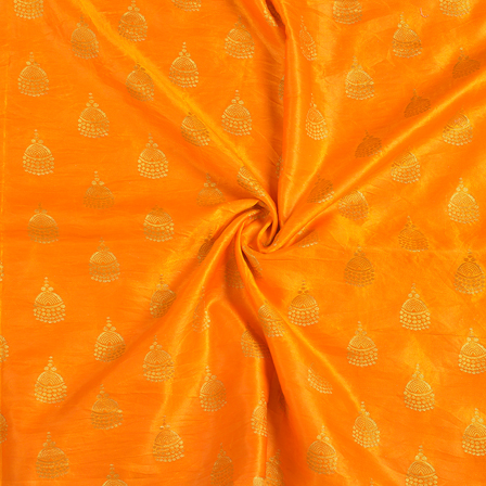 Orange and Golden Silk Satin Brocade Fabric-8695