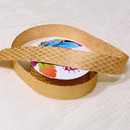 9 MTR Roll of Yellow and Golden Traditional Indian Pattern Jacquard Ribbon-4068