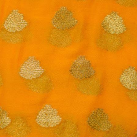 Yellow and Golden Tree Pattern Chiffon Indian Fabric-4353