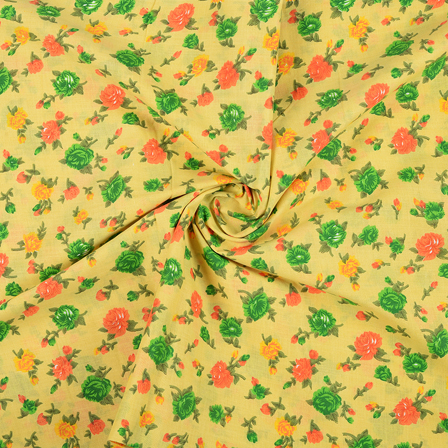Yellow and Green Flower Design Block Print Fabric-14422