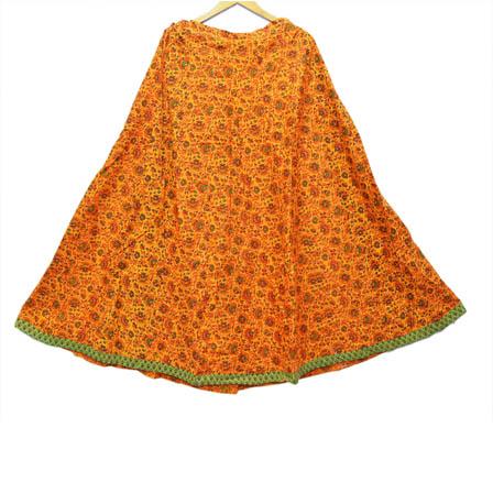 Yellow and Green Flower Design Cotton Skirt-23001