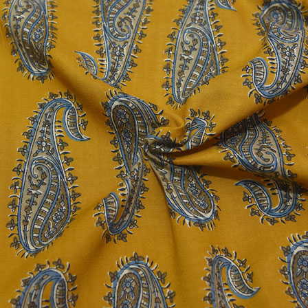 Yellow and Green Paisley Design Rayon Fabric-15031