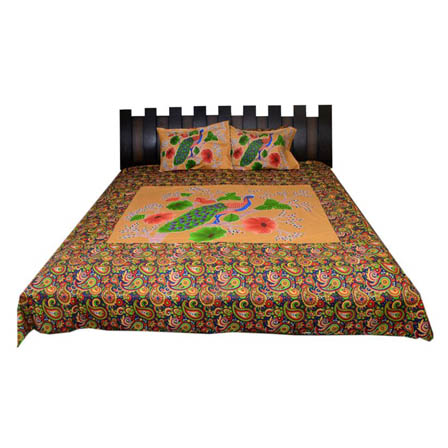 Yellow and Green Paisley  Print Cotton Double Bed Sheet -0S8