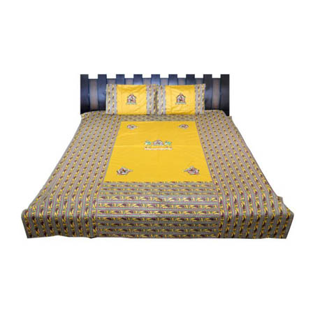 Yellow and Green  Print Cotton Double Bed Sheet -0RDU02Y