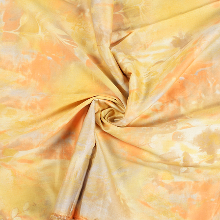 Yellow and Orange Jam Cotton Silk Fabric-75075