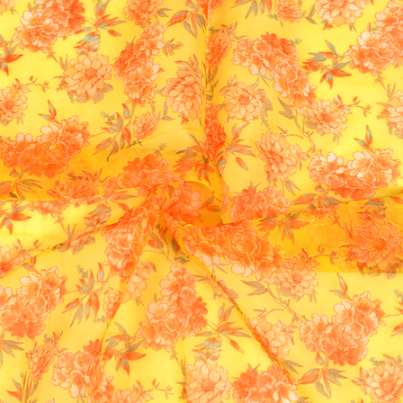 Yellow and Orange Floral Design Silk Organza Fabric-50020