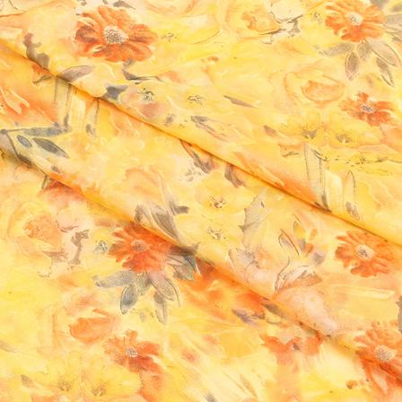 Yellow and Orange Flower Organza Silk Fabric-51438