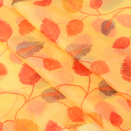 Yellow and Pink Leaf Silk Organza Fabric -51104