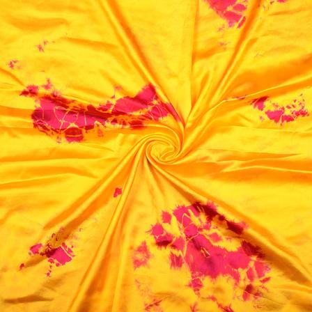 Yellow and Pink Satin Batik Fabric-32070