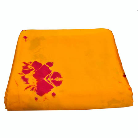 Yellow and Red Batik Satin Fabric-32008