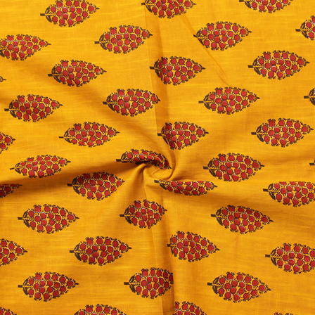 Yellow and Red Leaf Design Block Print Cotton Slub Fabric-14328
