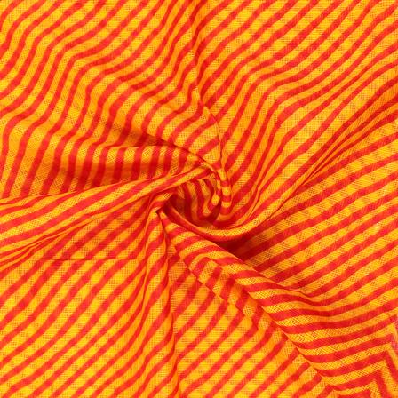 Yellow and Red Lehariya Design Kota Doria Fabric-25072