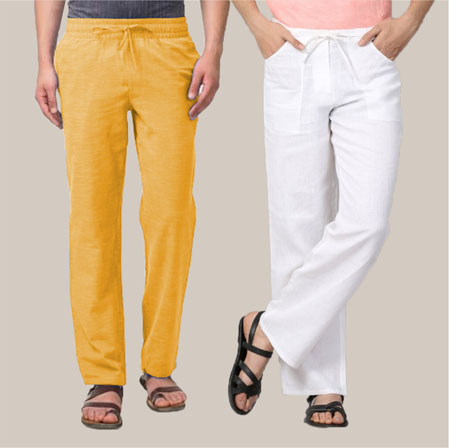 Combo of 2 Cotton Men Handloom Pant Yellow and White-35987