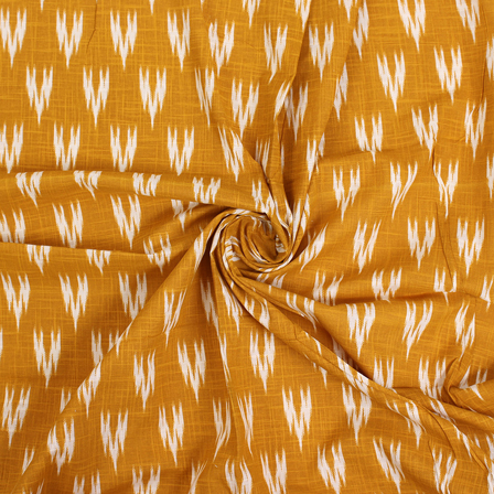 Yellow and White Cotton Ikat Print Fabric-12141