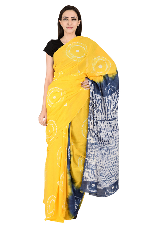 Yellow and White Cotton Shibori Print Saree-20132