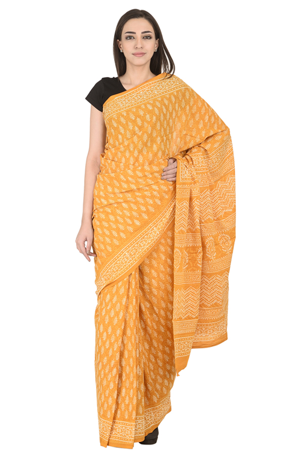 Yellow and White Leaf Design Cotton Block Print Saree-20123