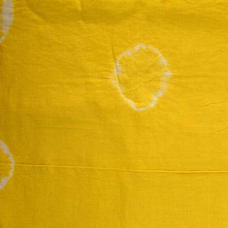 Yellow and White Shibori with Tie Dye Pattern Cotton Fabric by the Yard