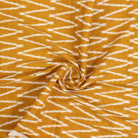 Yellow and White Zig Zag Cotton Ikat Print Fabric-12138