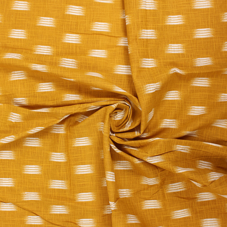 Yellow and White Zig Zag Cotton Ikat Print Fabric-12140