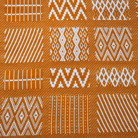Yellow and White  Zig Zag India Shape Cotton Jacquard Fabric-31011