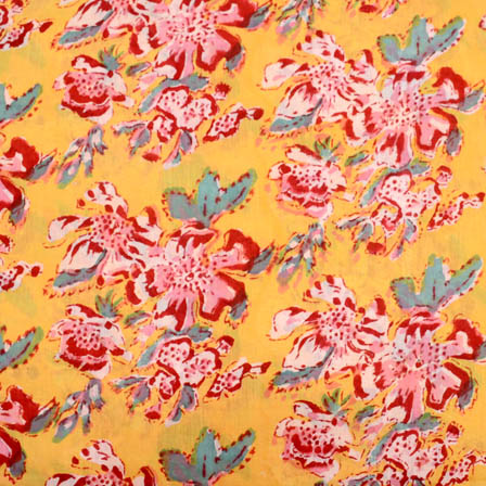 Yellow and pink flower block print fabric-5196