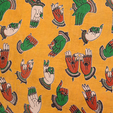Yellow-red and Green small hand kalamkari cotton fabric 4512