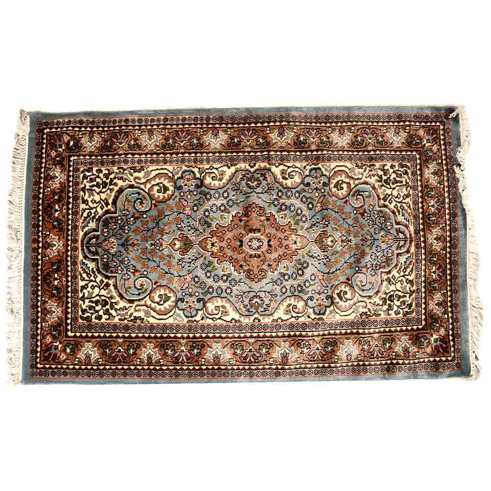 Black/Blue 3*5 Persian Hand Knotted Wool Rug