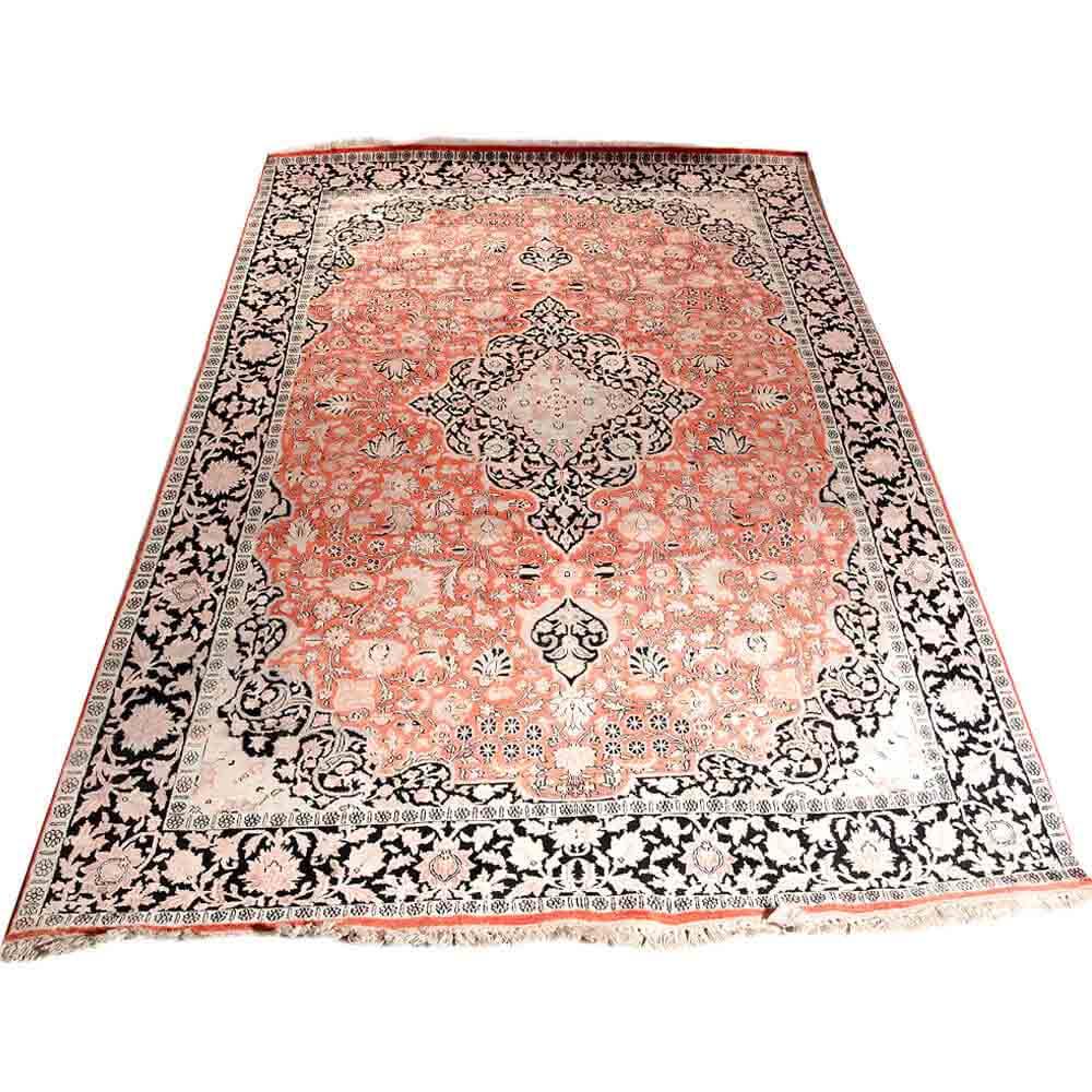 Traditional Kashmir Silk Handmade Hand Knotted Persian: Buy Black/Pink 6*9 Persian Hand Knotted Kashmiri Stepple