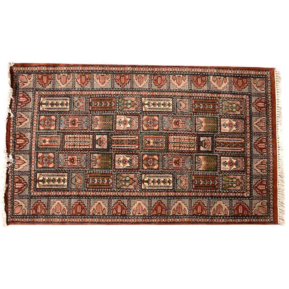 Black/Red 3*5 Kumbh Hand Knotted Wool Rug