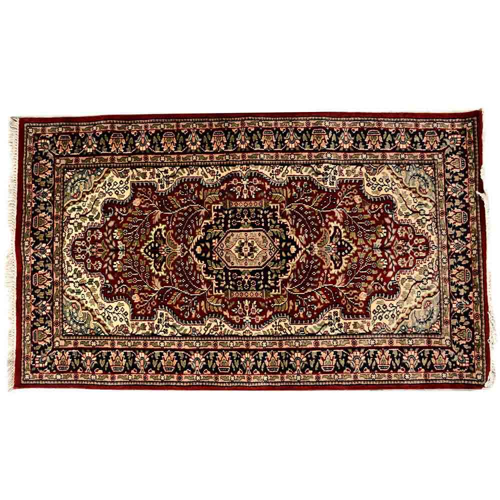 Black/Red 3*5 Persian Hand Knotted Wool Carpet