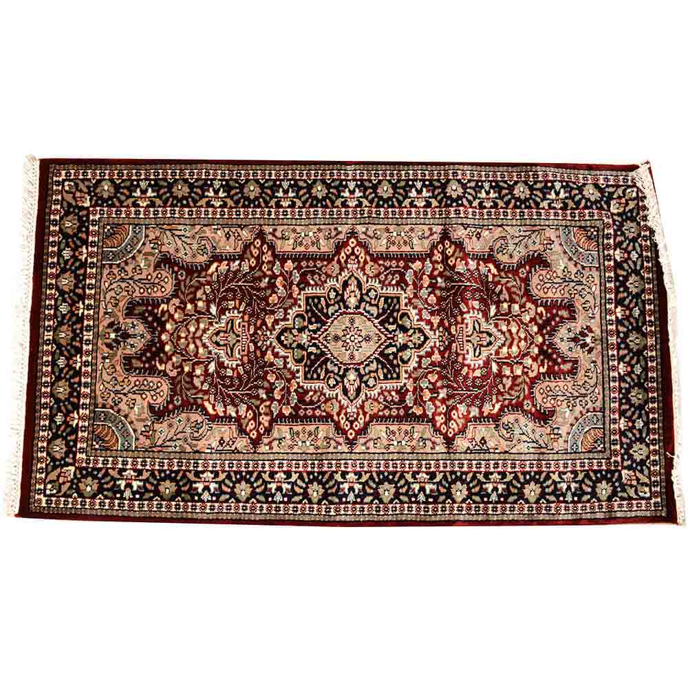 Black/Red 3*5 Persian Hand Knotted Wool Rug