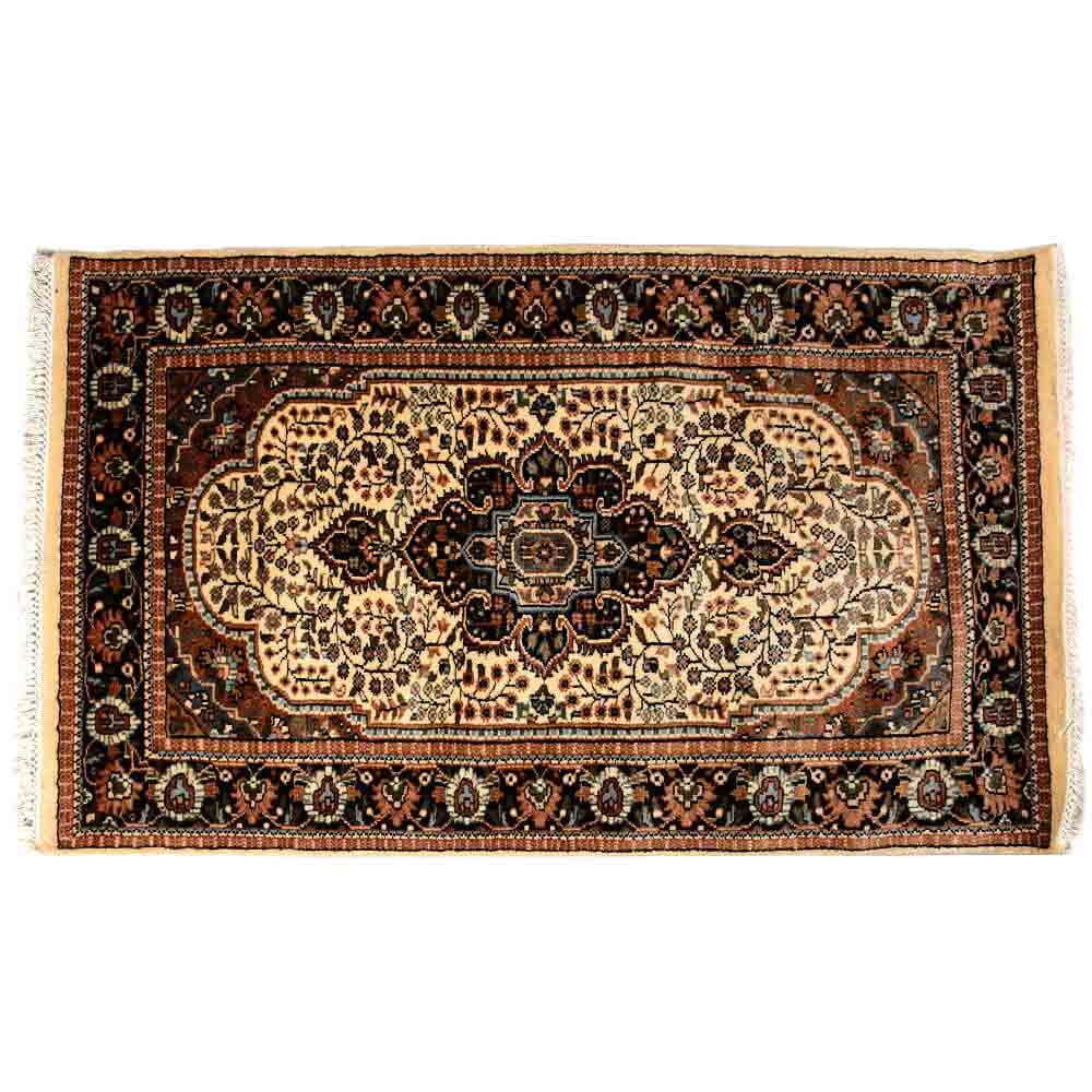 Black/White 3*5 Persian Hand Knotted Wool Carpet