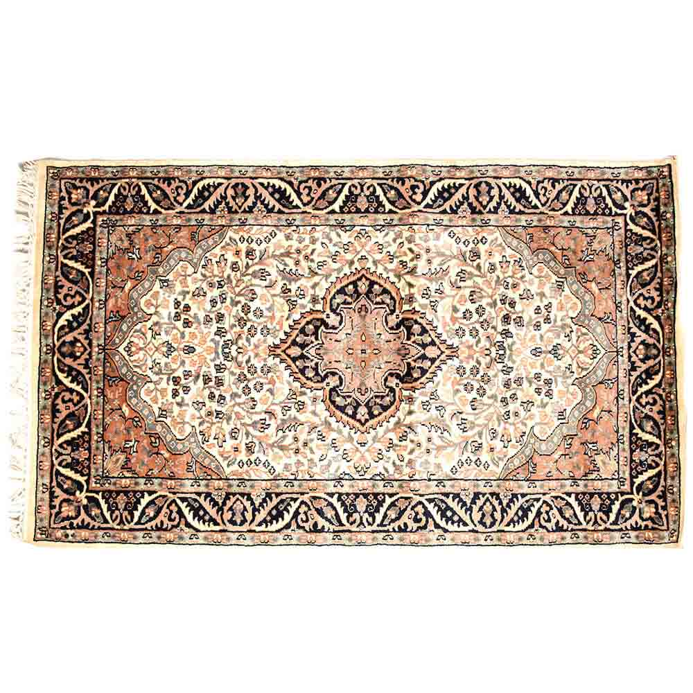 Black/White 3*5 Persian Hand Knotted Wool Rug
