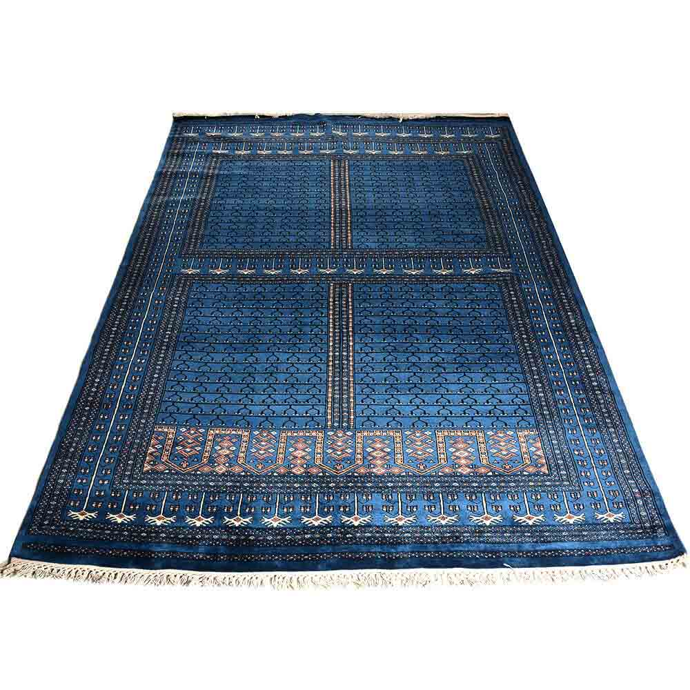 Blue 6*9 Parda( Hand Knotted Wool Rug