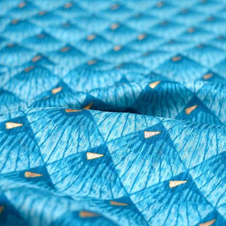 blue star shaped kota doria fabric-4930