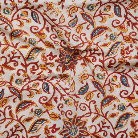cream Brown and Yellow Block Print Cotton Fabric-14621