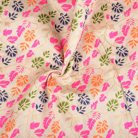 cream-Orange and Pink Floral Digital Brocade Fabric-24064