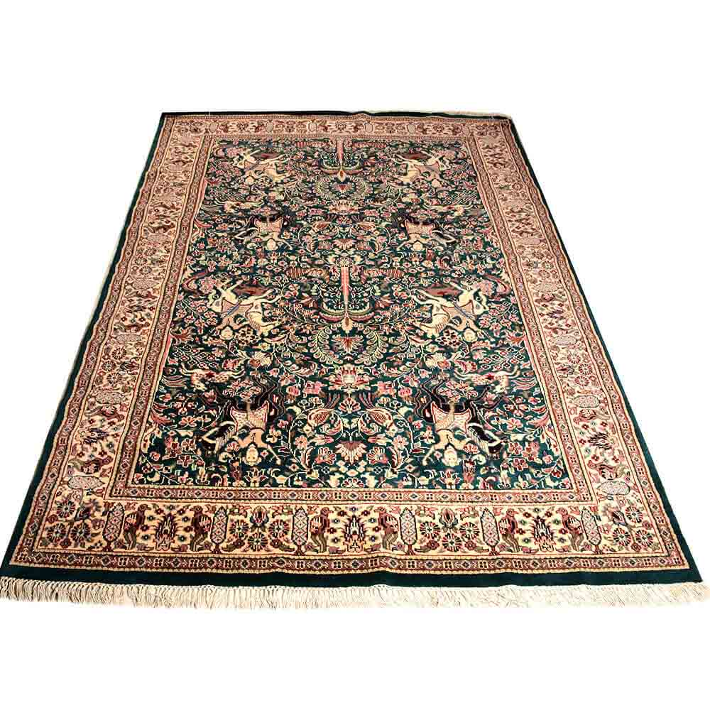 Cream/green 6*9 Hunting Hand Knotted Wool Rug