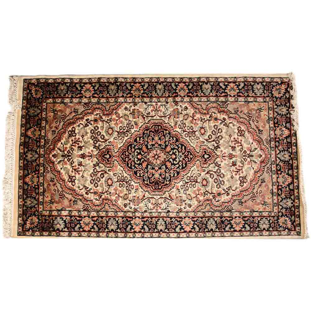 Elegant Black/White 3*5 Persian Hand Knotted Wool Rug