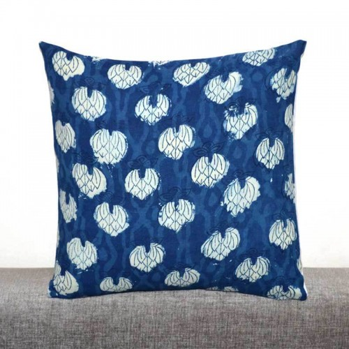 Blue and White sanganeri Hand Block Print Cotton Cushion Cover