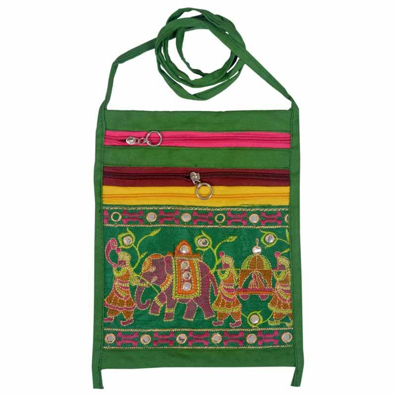 Green Elephant Print Shoulder Bag